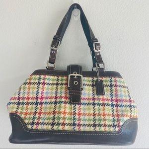 Coach Rainbow Plaid Brown Leather Shoulder Bag